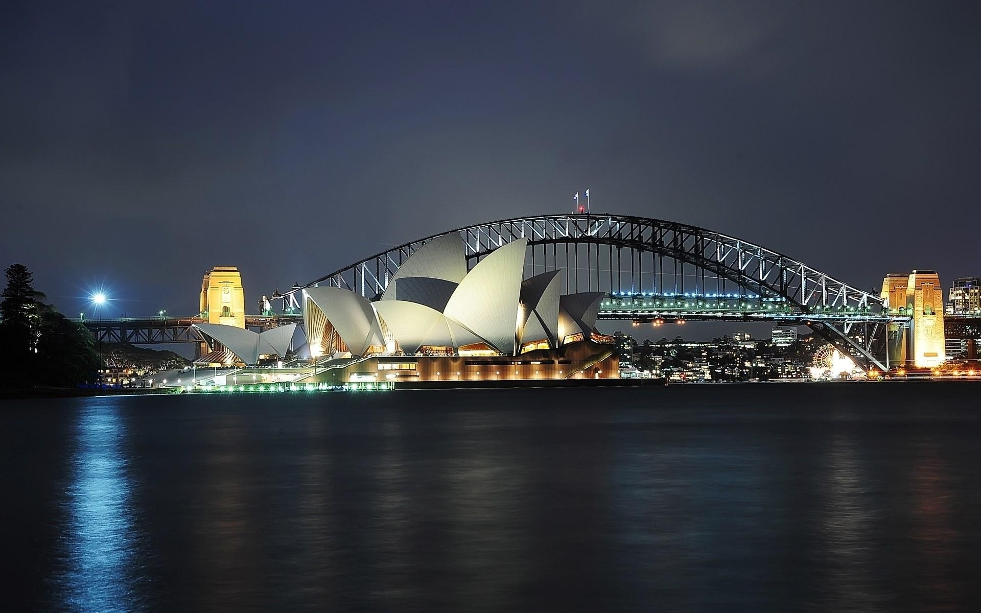 australia bridge city architecture water river travel cityscape sky skyline building opera urban evening sunset dusk downtown waterfront light reflection