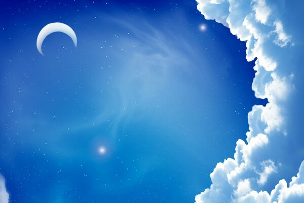 The minimalism of the night sky the moon the month the cloud cloud star,