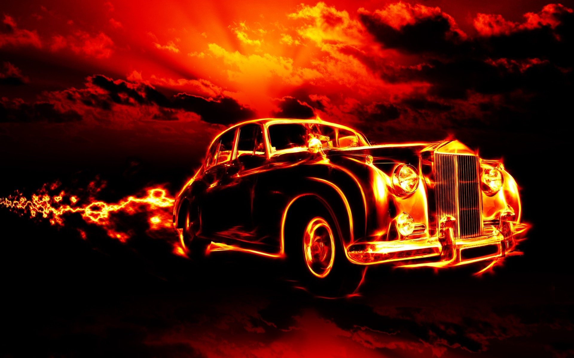 Vintage Car In Fire Android Wallpapers For Free