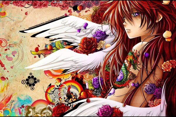 Anime dragon ink tattoo flowers