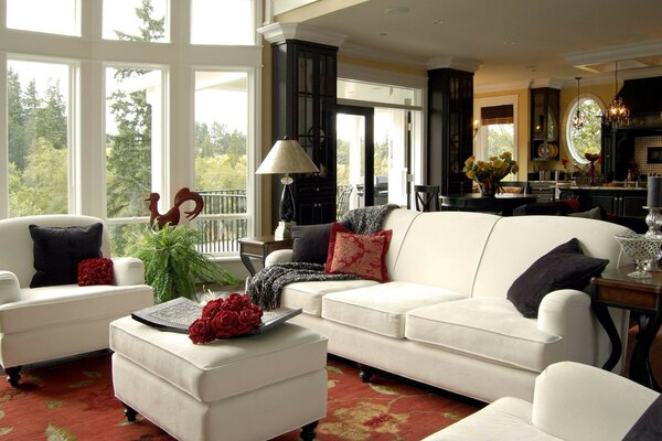 white Interior window design living room furniture. pillows to