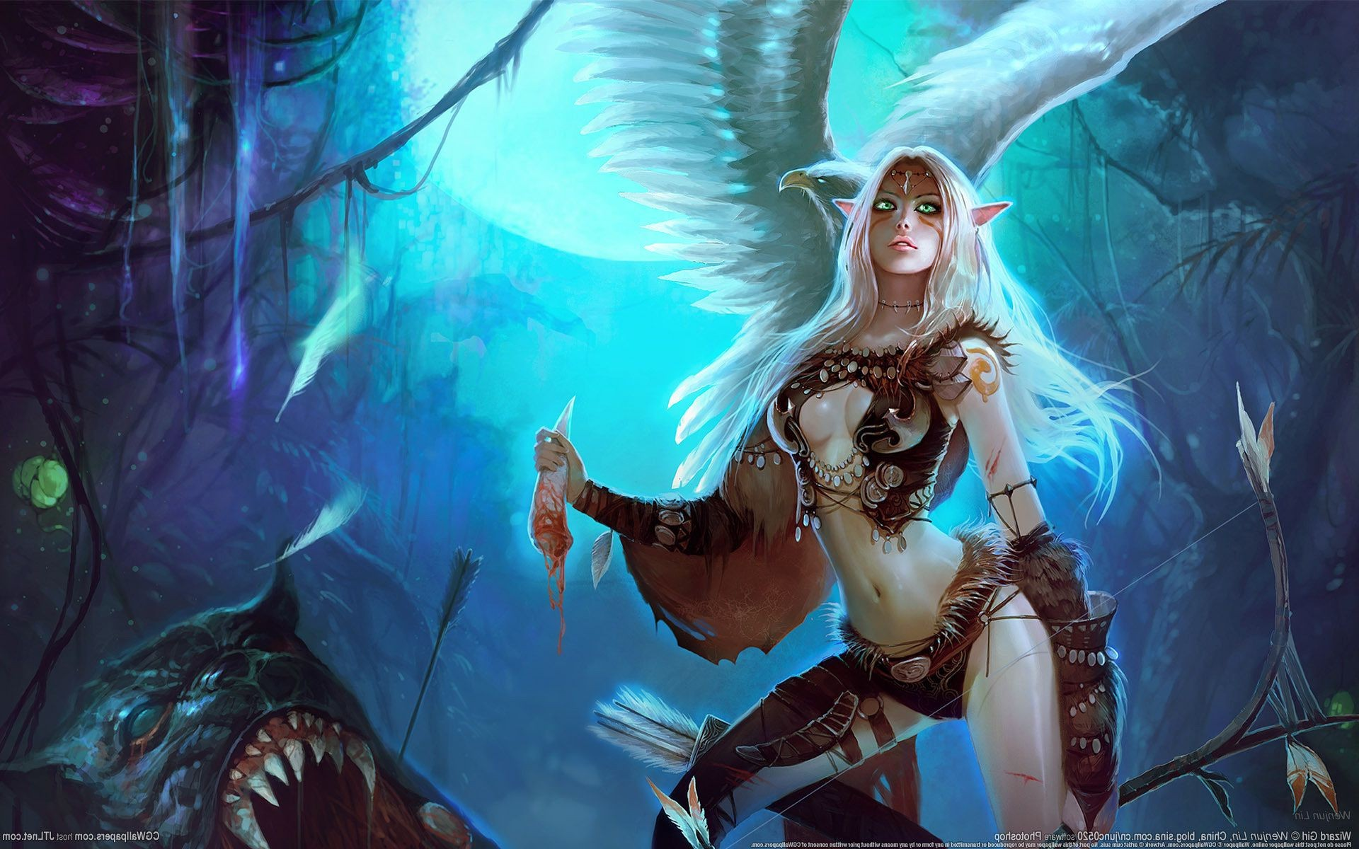 Monster Wenjun Lin Fang Wizard Archer Girl Bow Elfic Android Wallpapers For Free