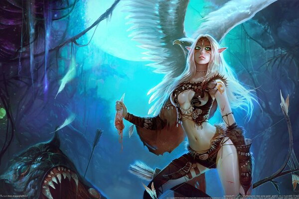 monster Wenjun lin Fang wizard Archer girl bow elfic