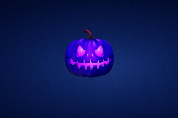 Blue Scary Pumpkin