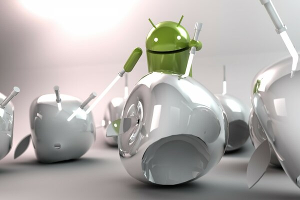 Android Cutting Apple
