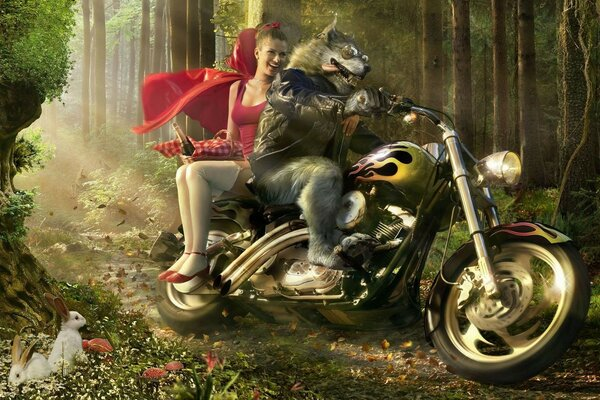 The wolf little red riding hood motorcycle forest joke