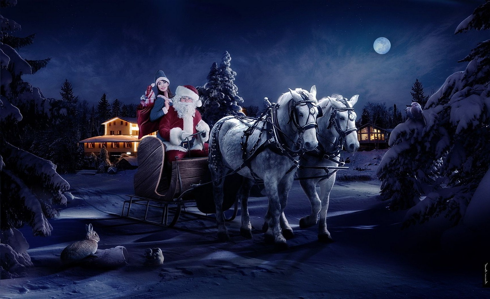 the moon is Santa Claus of the horse new year's night