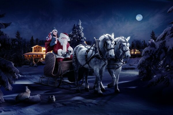the moon is Santa Claus of the horse new year s night