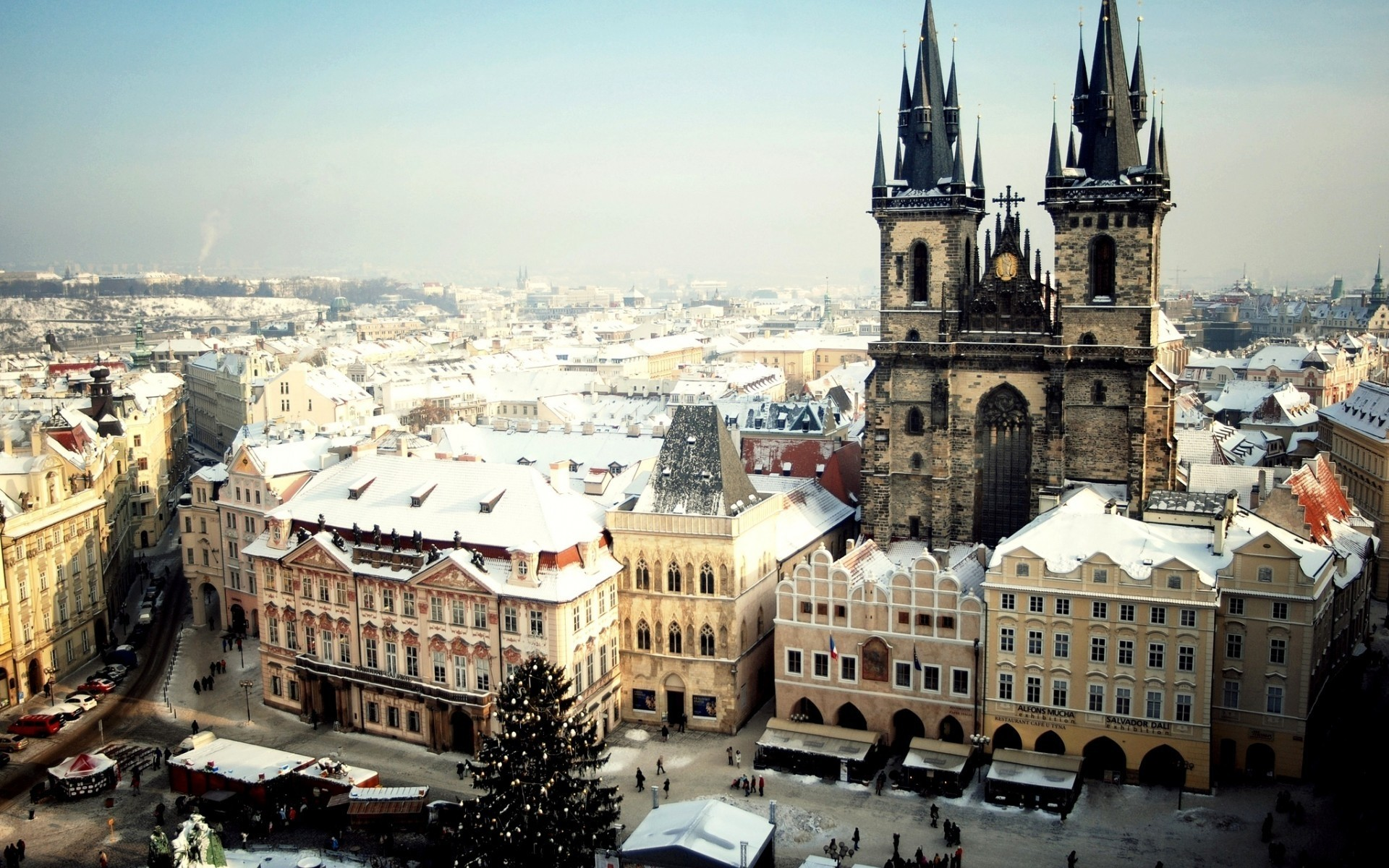 other city architecture city travel building church cityscape town urban tourism sight religion outdoors house sky old cathedral landscape skyline tower czech republic tyn church prague cathedral