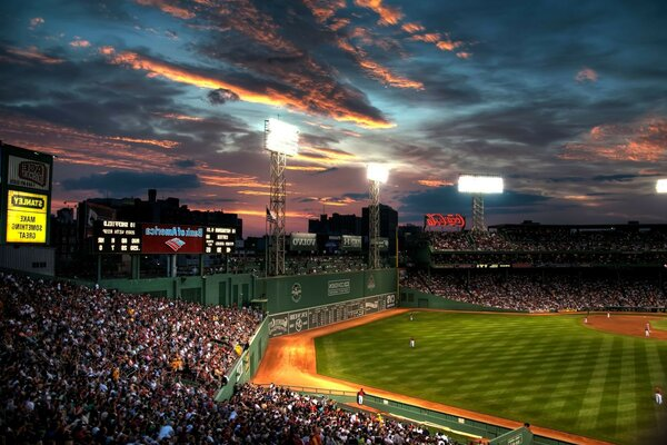 Fenway park boston cloud people beysball baseball
