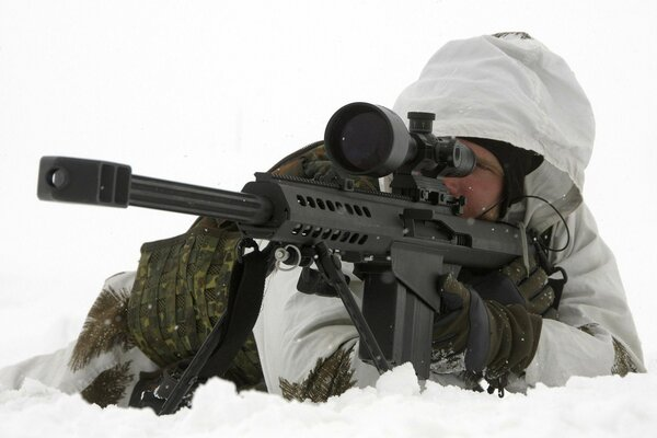 aims sniper rifle snow Shooter barret Barrett