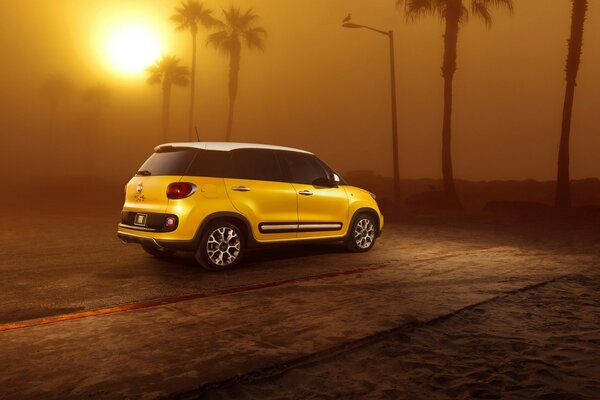 Sunset and Fiat 500L