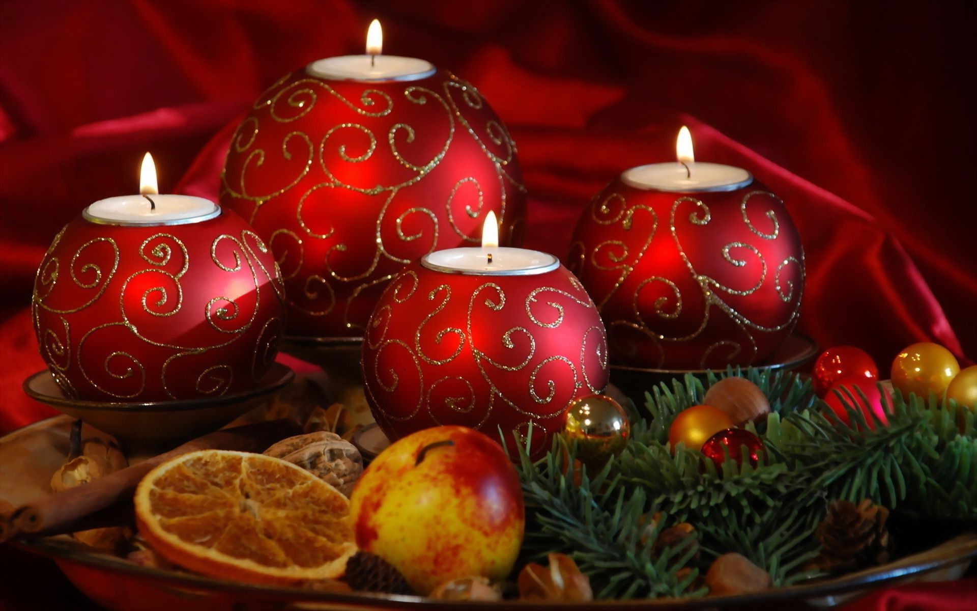 candles fruits New year