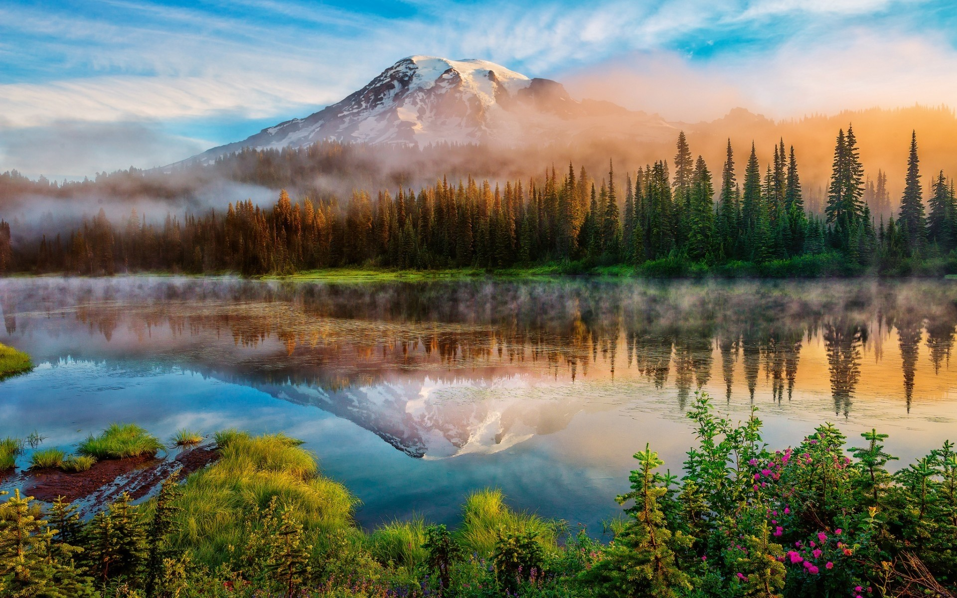 united states lake water landscape nature outdoors dawn reflection mountain travel scenic snow fall wood sky sunset mount rainier mountains
