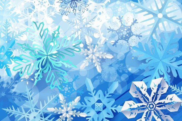 Blue winter snowflakes