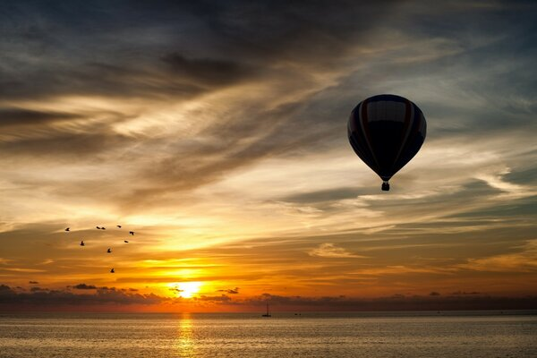Balloon Towards Sunset