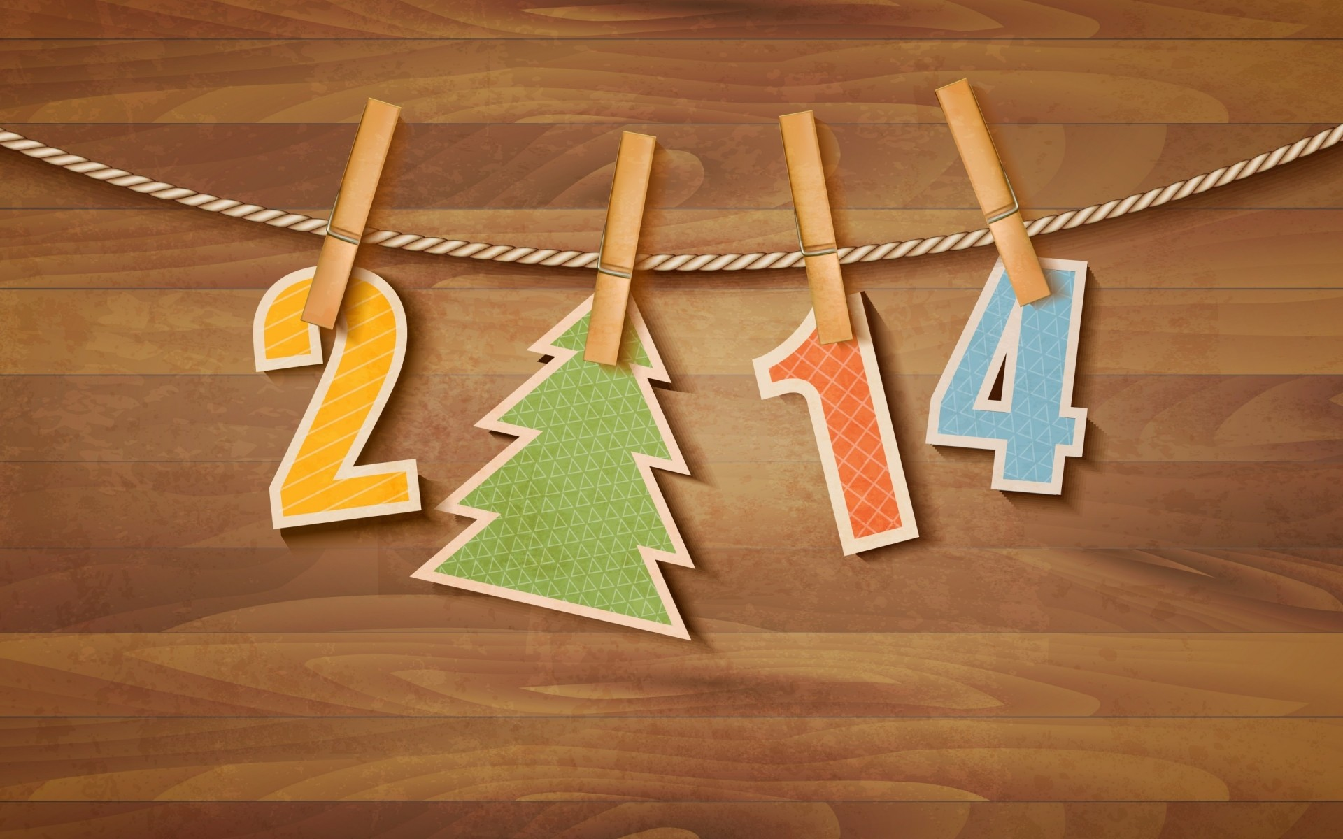 new year wood wooden rope hanging retro clothespin clothesline business text 2014
