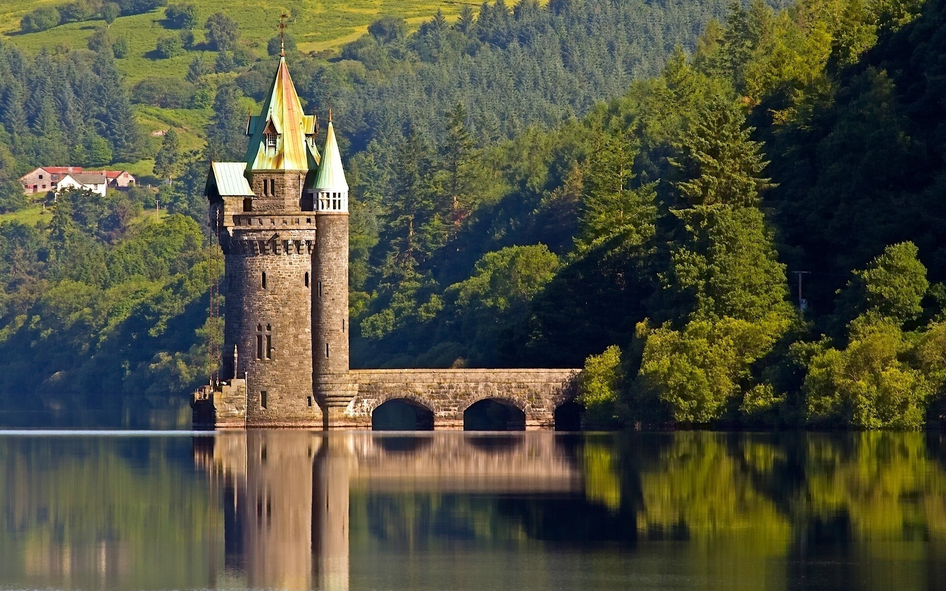 united kingdom lake river water reflection outdoors travel tree nature architecture sky wood daylight landscape bridge scenic fall vyrnwy tower england vyrnwy lake