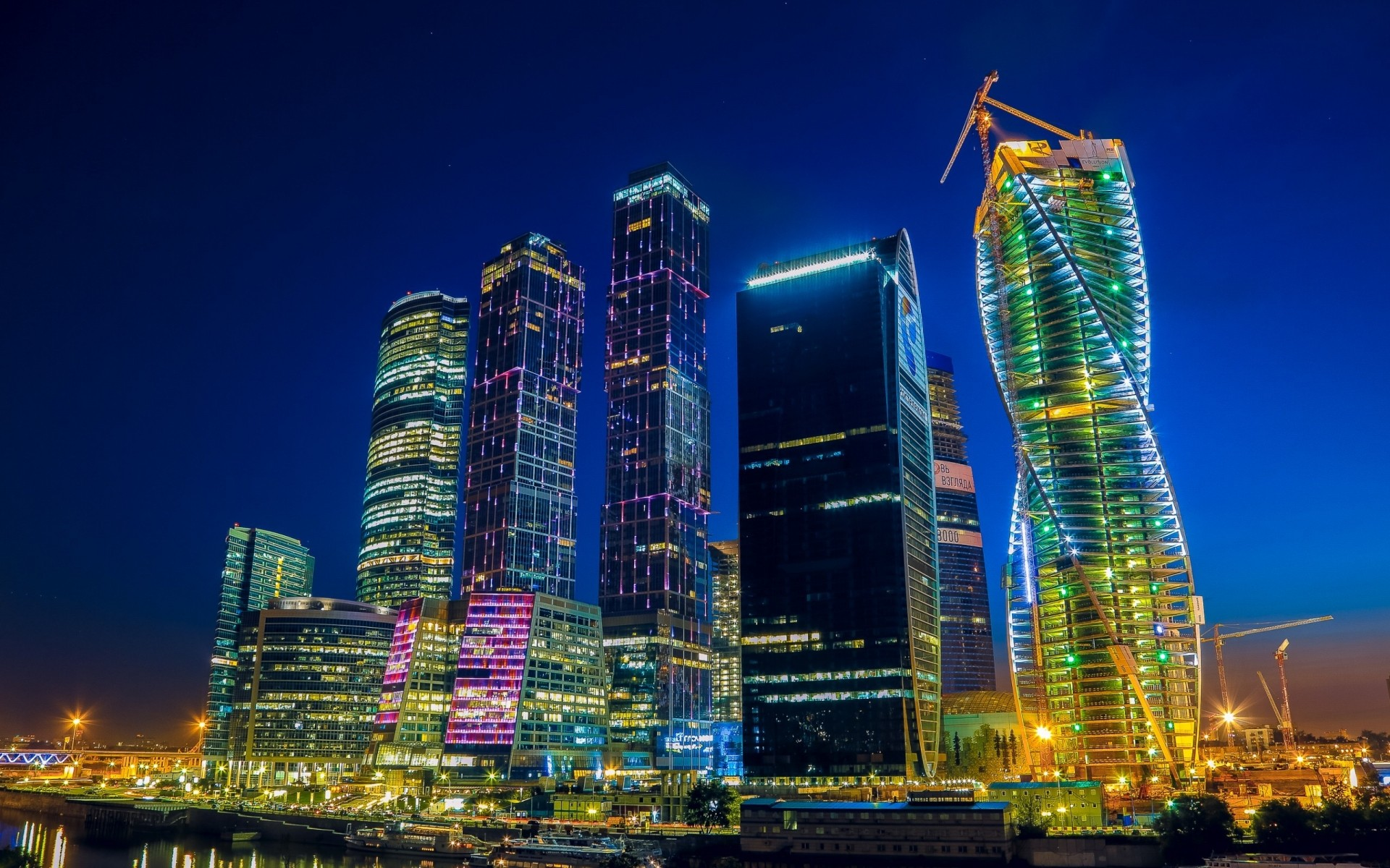 russia city architecture skyscraper building cityscape downtown skyline modern dusk office urban evening sky tower business illuminated tall travel landmark finance moscow river buildings night lights