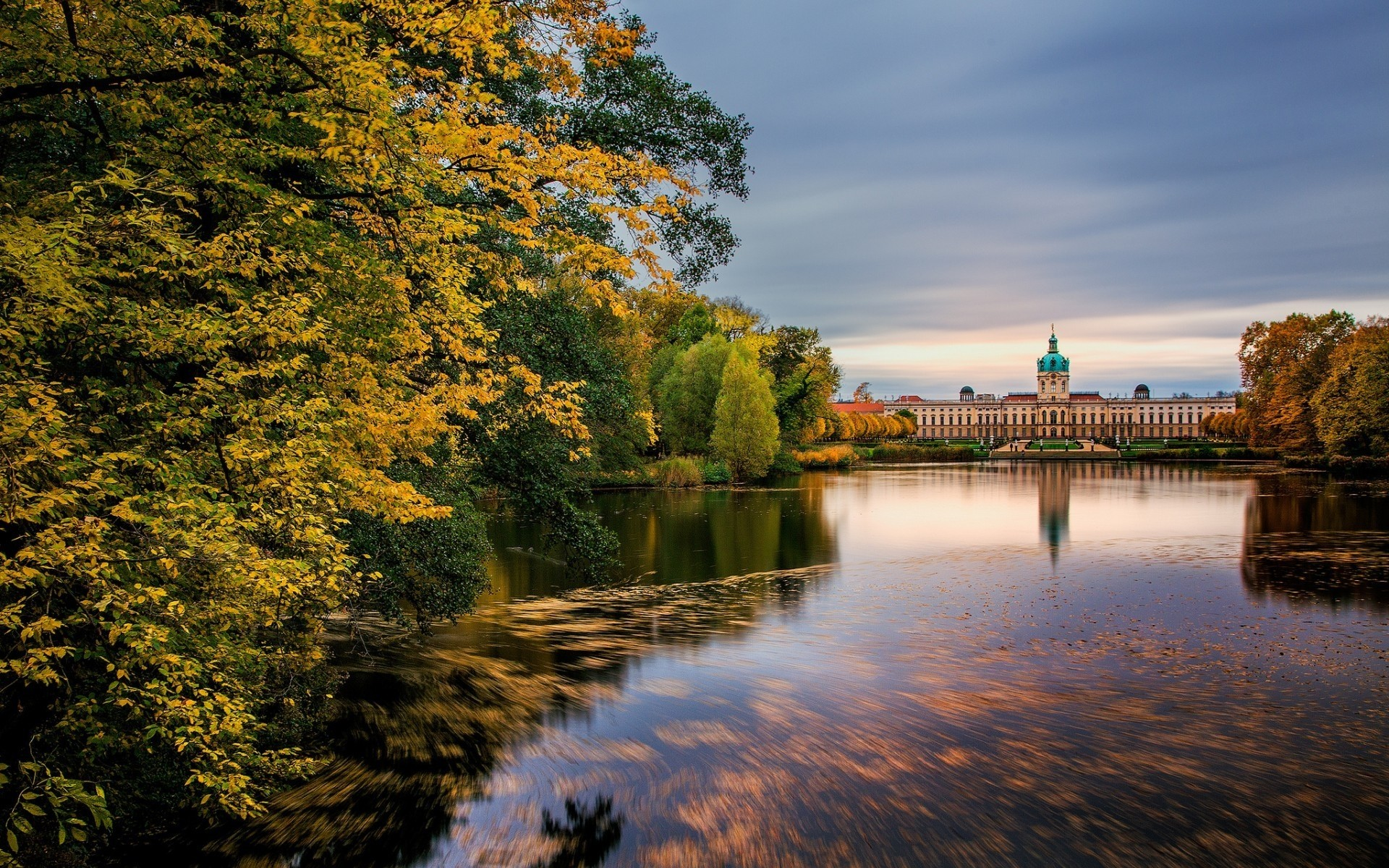 germany water tree lake river fall outdoors nature reflection landscape dawn leaf park travel wood evening sunset pool sky schloss charlottenburg berlin castel
