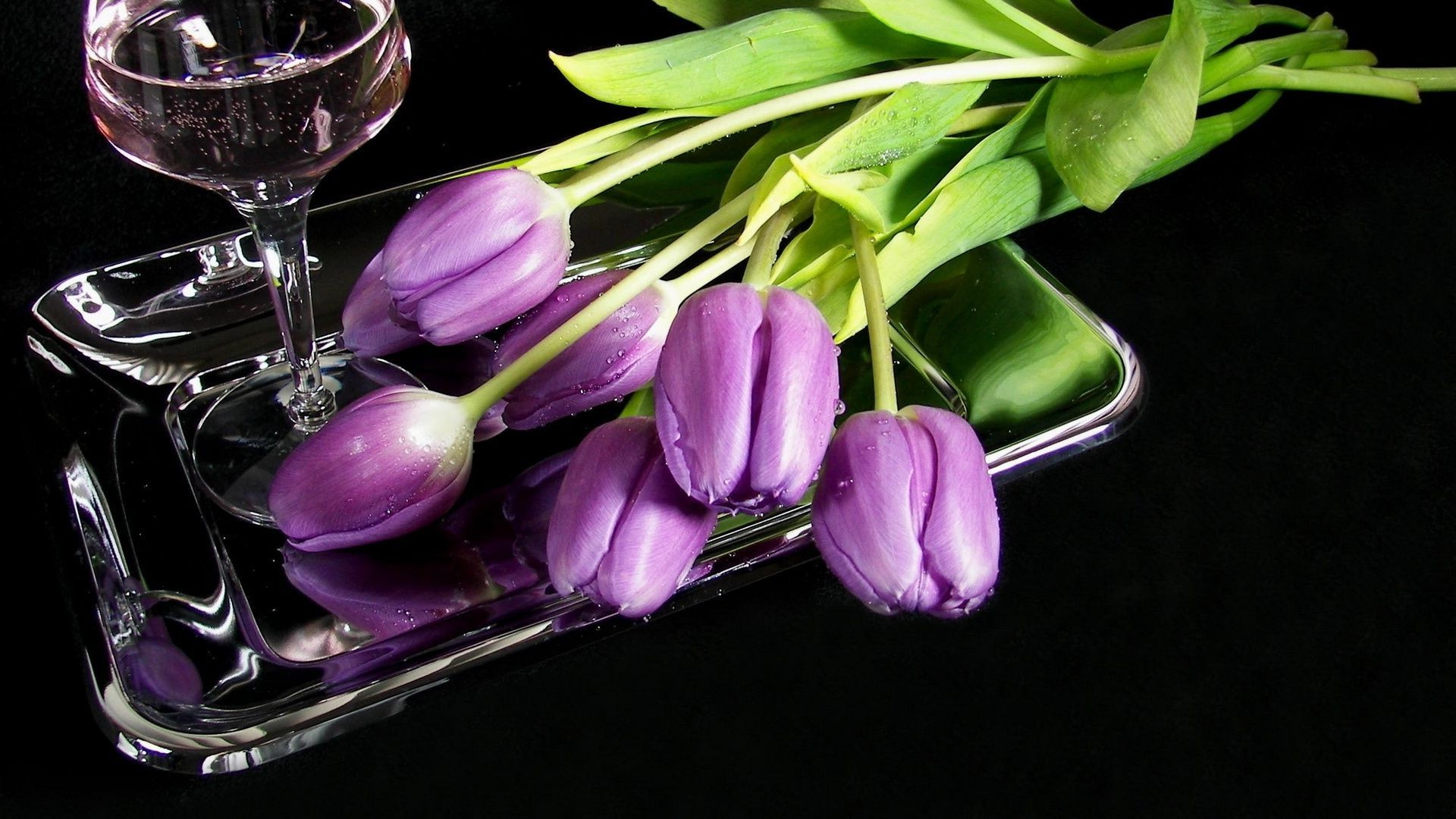 the glass tray tulips Flowers wine