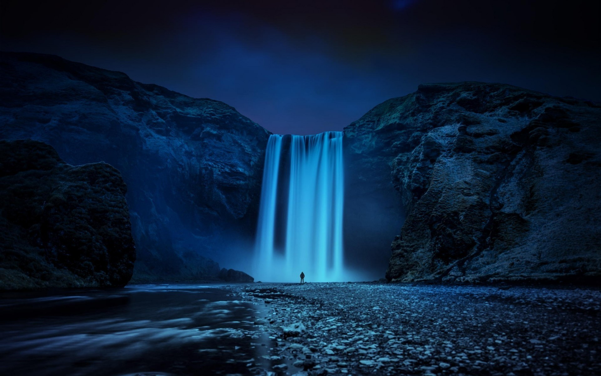 other city water river waterfall travel evening nature sky sunset landscape photograph outdoors motion moon light dawn dusk reflection iceland cliff skogafoss waterfall