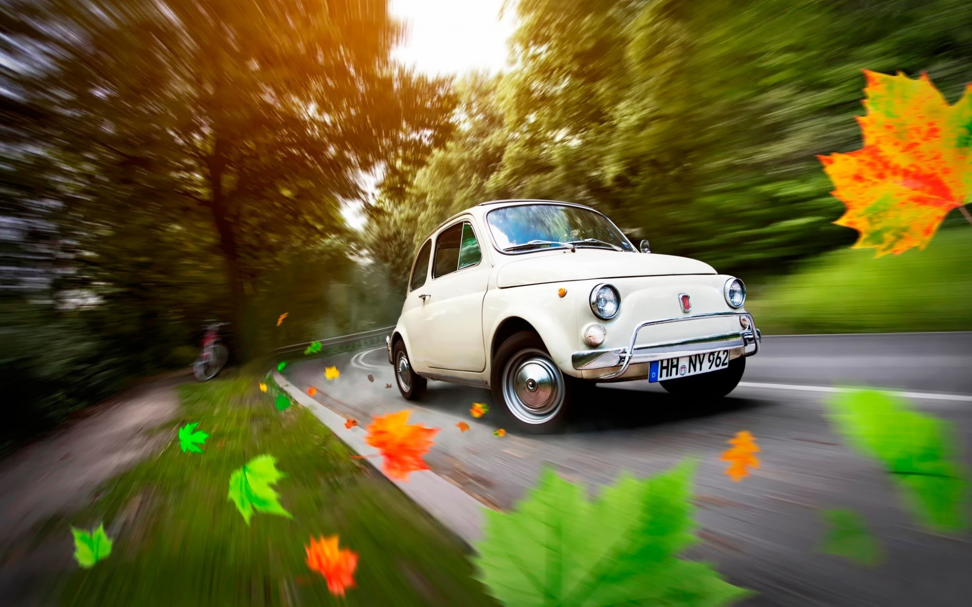 fiat car road vehicle transportation system asphalt drive hurry blur fast traffic highway action outdoors street fiat 500 old fiat classic cars vintage cars cool
