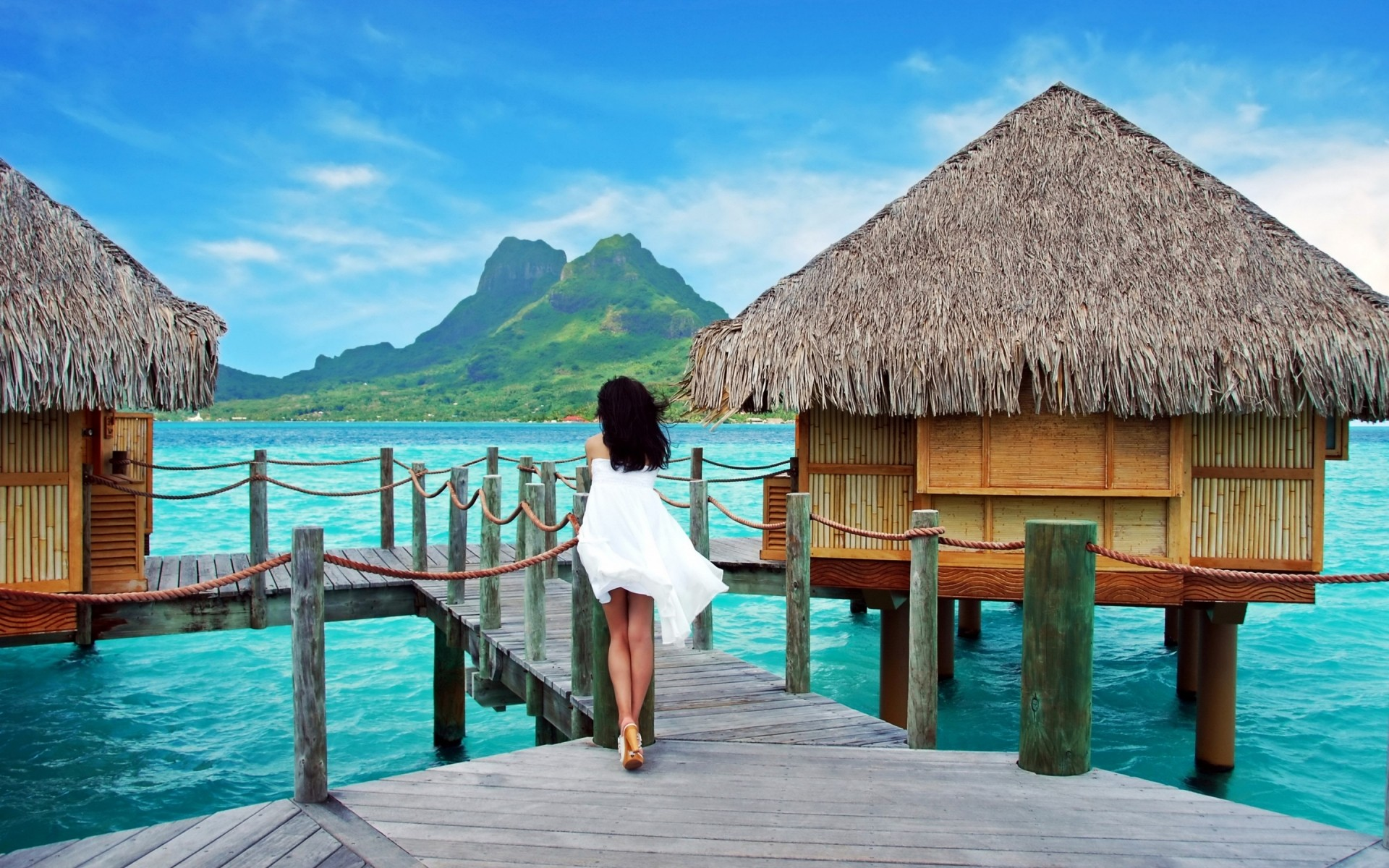 landscapes hut bungalow resort water travel vacation tropical leisure ocean summer sea beach island exotic wooden hotel seashore wood idyllic house bungalows landscape