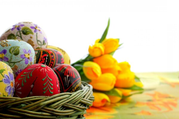 Easter eggs colored holiday macro Easter ornament