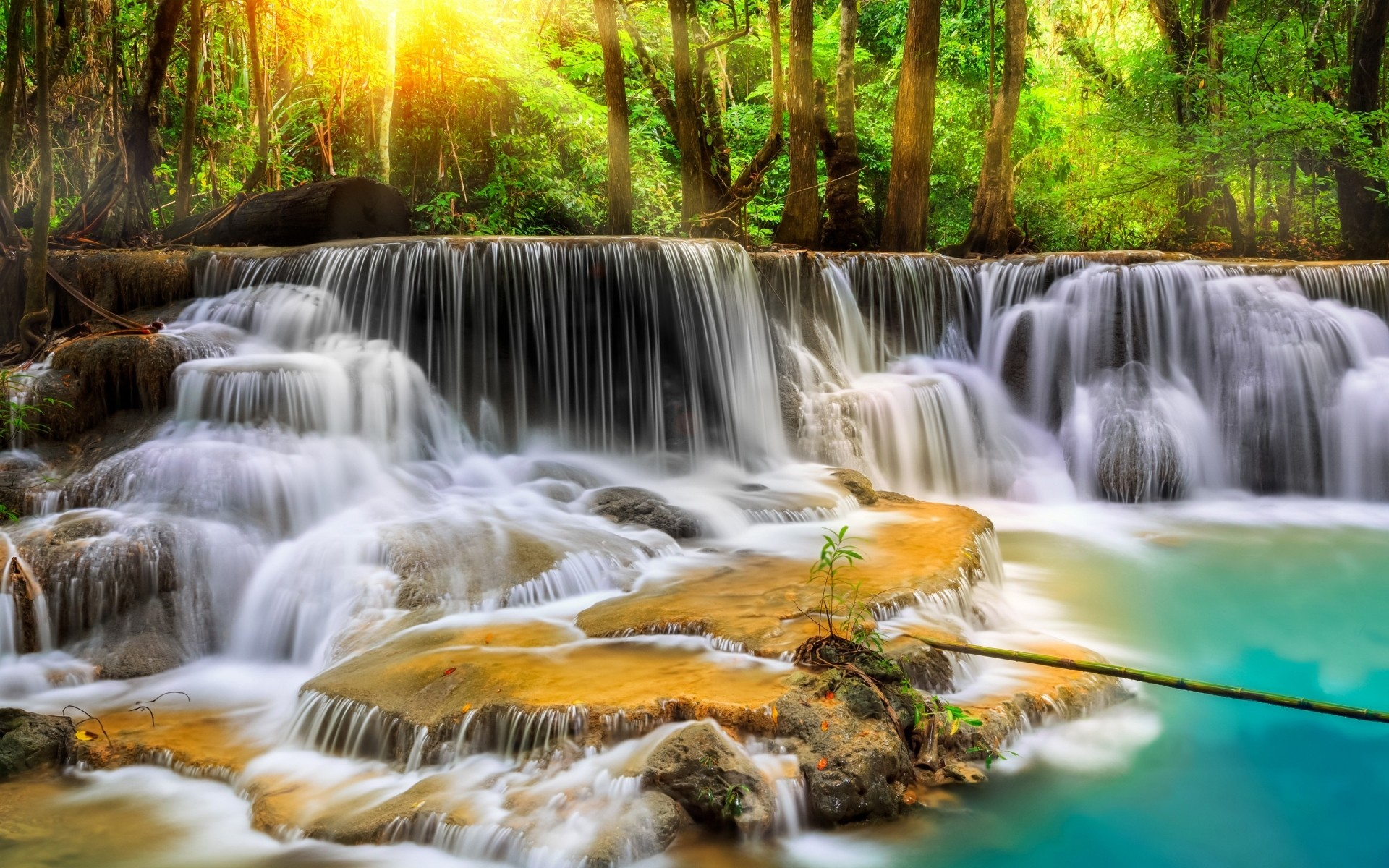 other city waterfall water river stream nature cascade flow wood fall motion leaf creek travel rock splash photograph wild wet landscape thailand forest