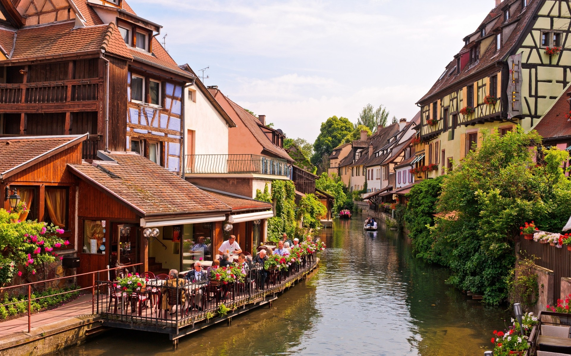france architecture house travel building tourism town canal water street city river traditional old outdoors tourist vacation urban colmar alsace landscape