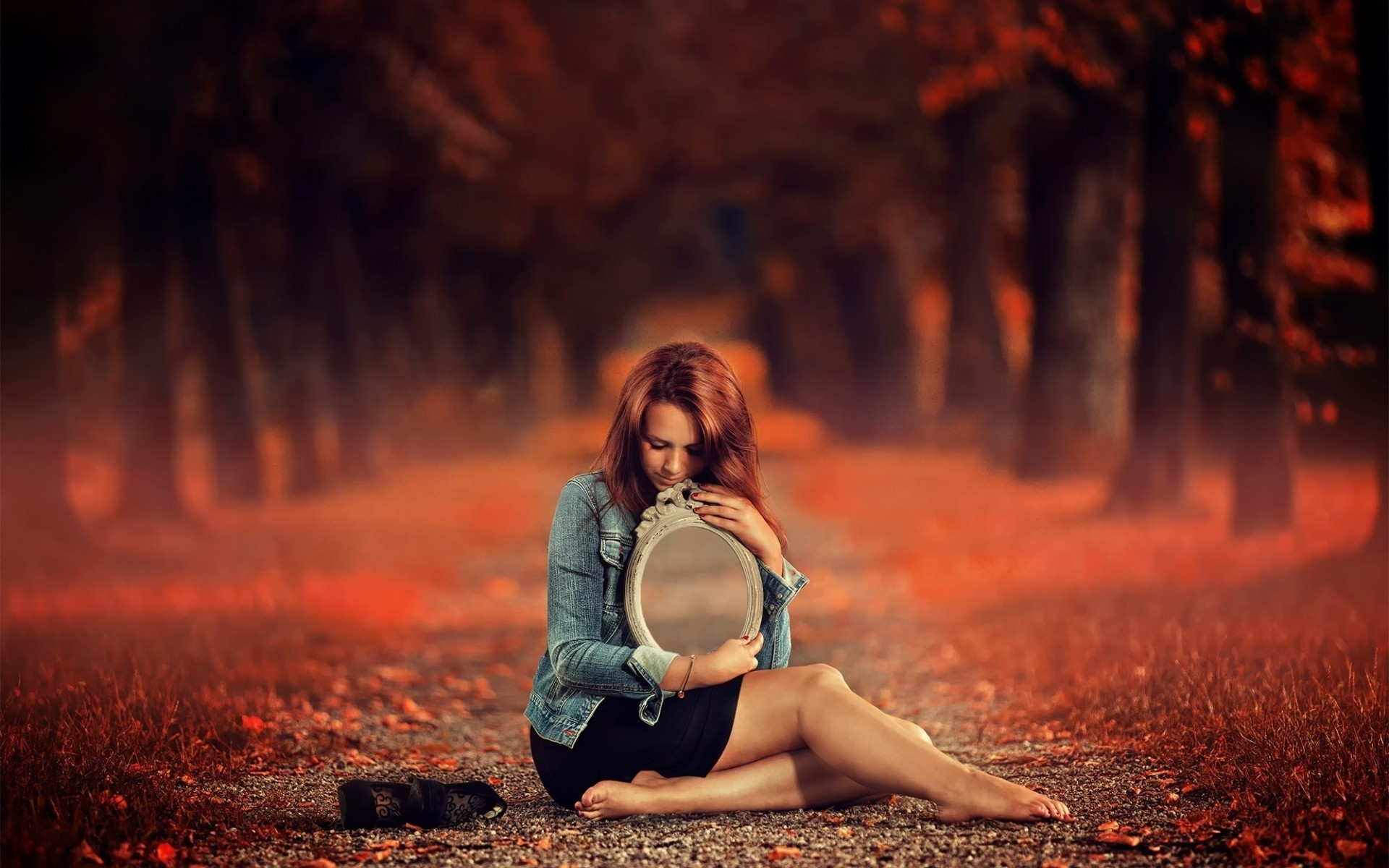 autumn girl nature fall woman sunset portrait one park outdoors mirror landscape