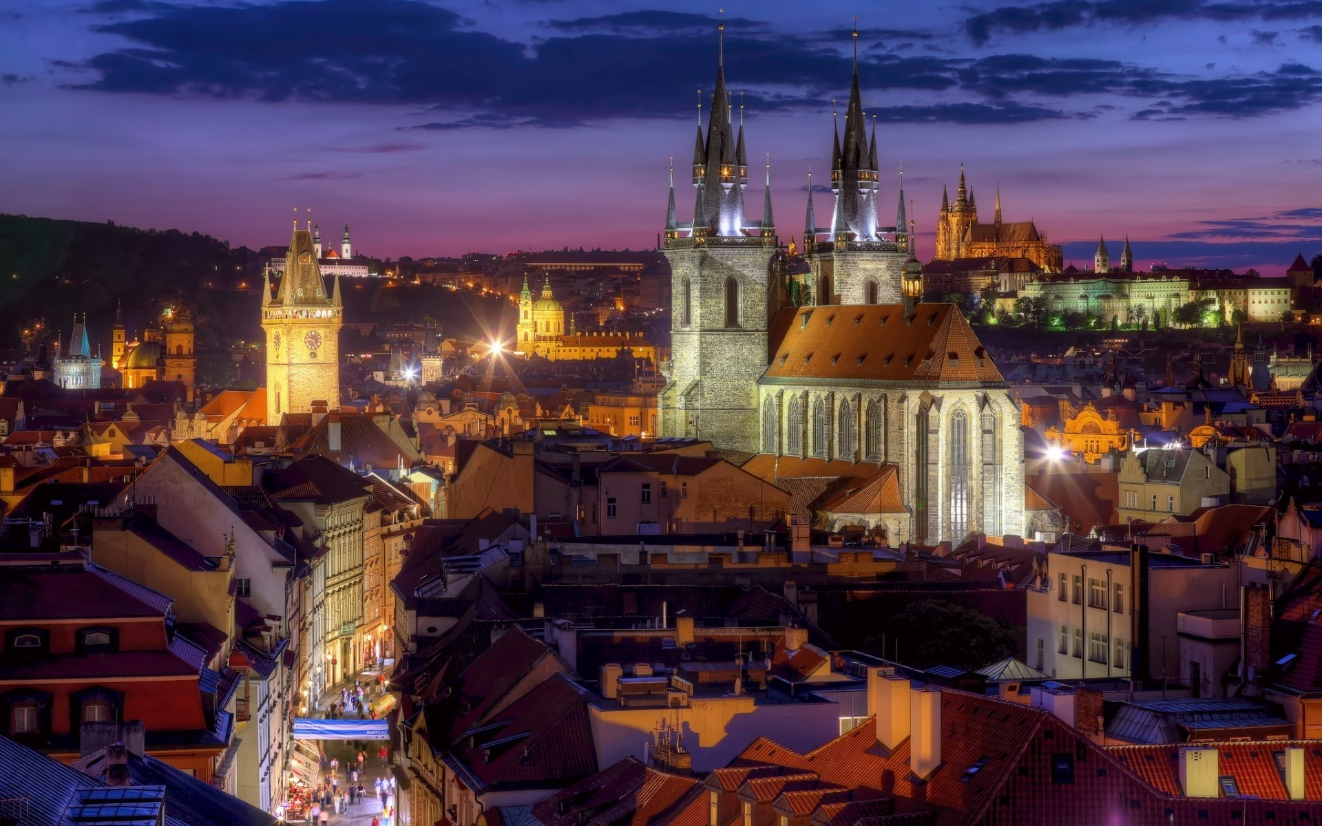 other city travel city evening architecture church dusk town cityscape tourism building cathedral sky river illuminated sight water tower outdoors urban prague landscape lights