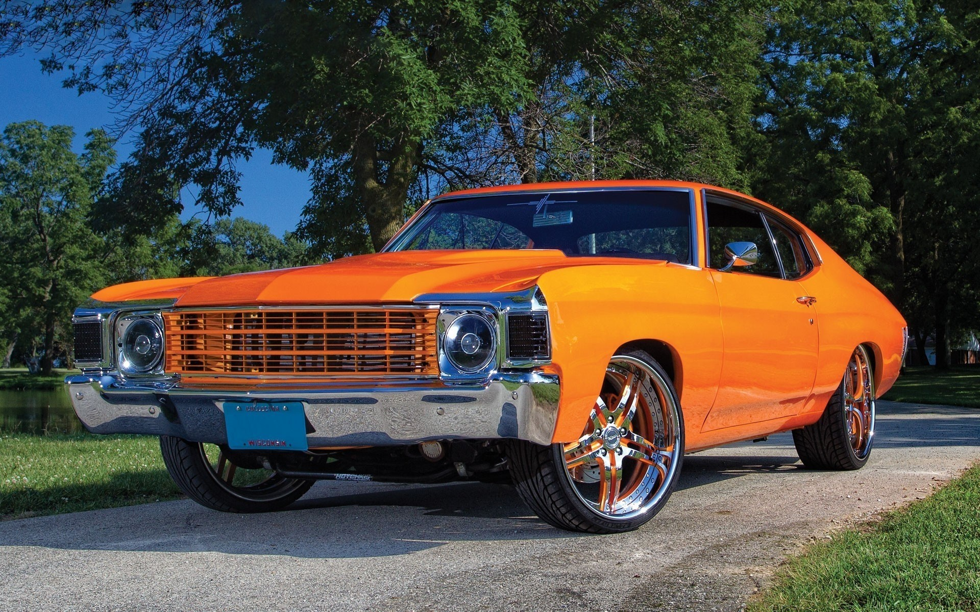 chevrolet vehicle car transportation system drive road wheel fast rally automotive chevelle chevy chevelle orange
