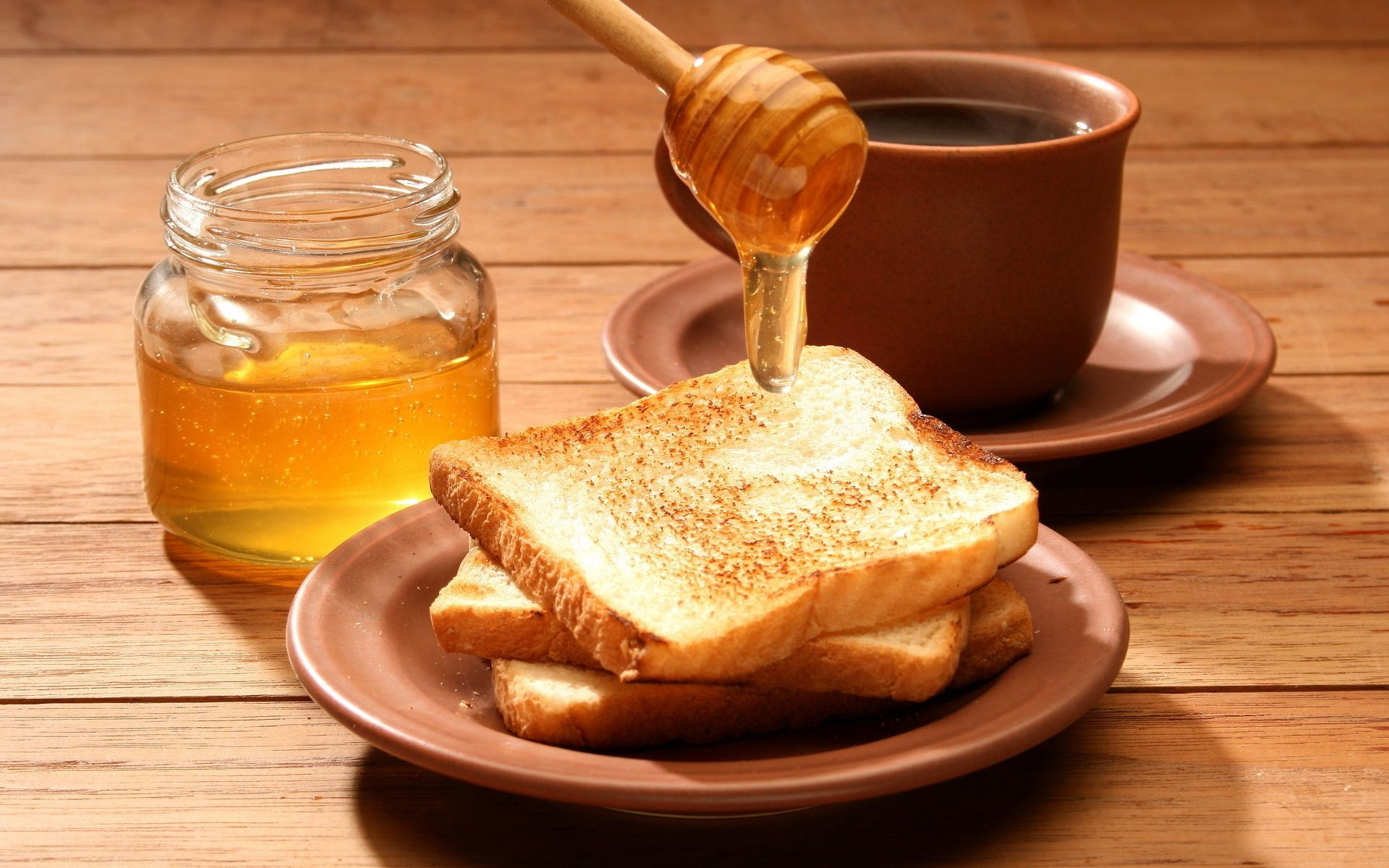breakfast honey food wood spoon sweet grow bread delicious jar wooden table nutrition jam healthy homemade glass toast dawn