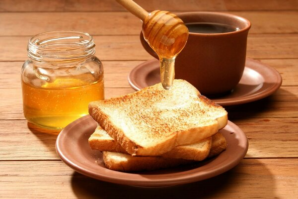 Bank tasty tea Cup Breakfast meal of coffee Toast honey