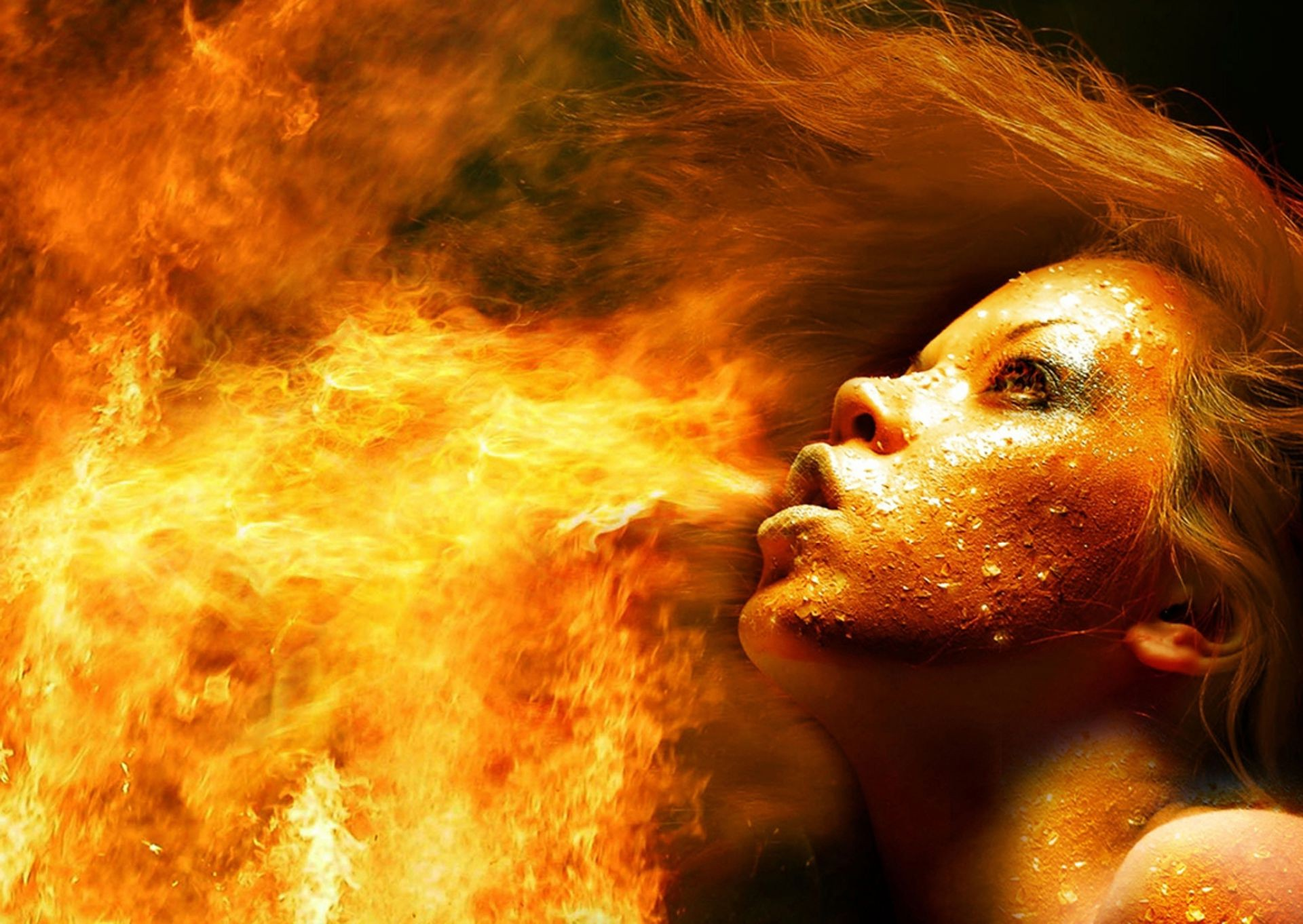 fire flame hot ocean smoke portrait magic art surreal astronomy