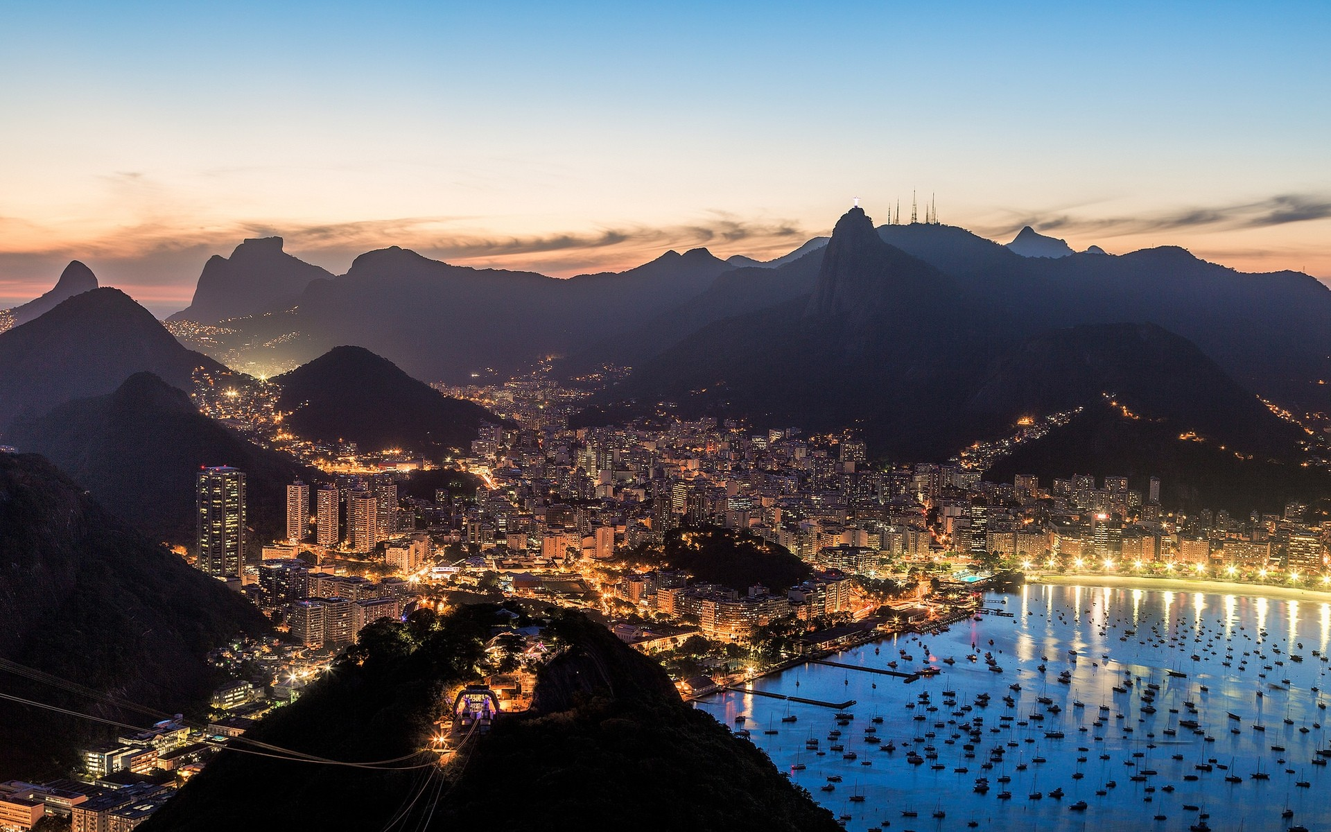 other city sunset water travel city mountain dawn evening architecture snow dusk lake outdoors landscape sky reflection brasil night lights