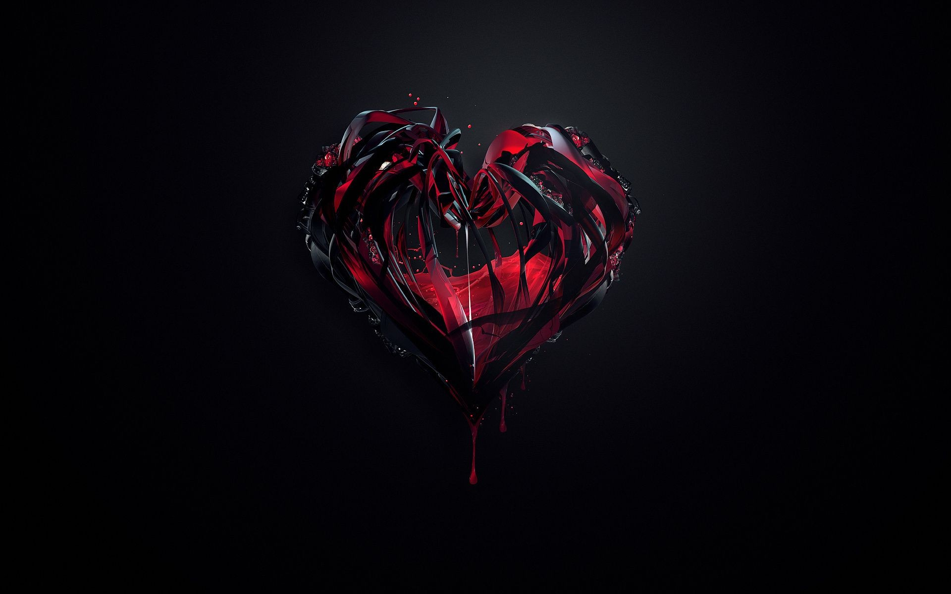Minimalist Paint The Heart Red Black Background Free Wallpapers