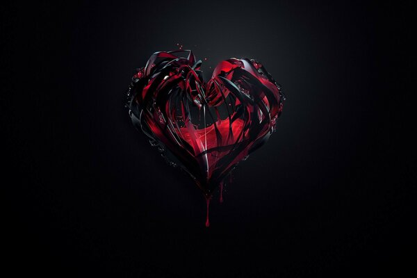 minimalist paint the Heart red black background