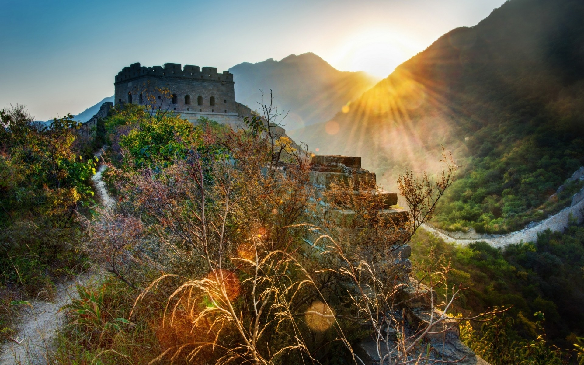 the great wall of china landscape. android wallpapers for free.