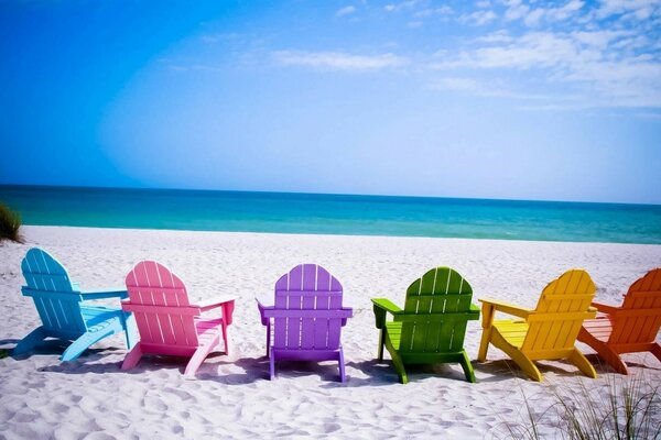Colorful Beach Chairs Wallpaper