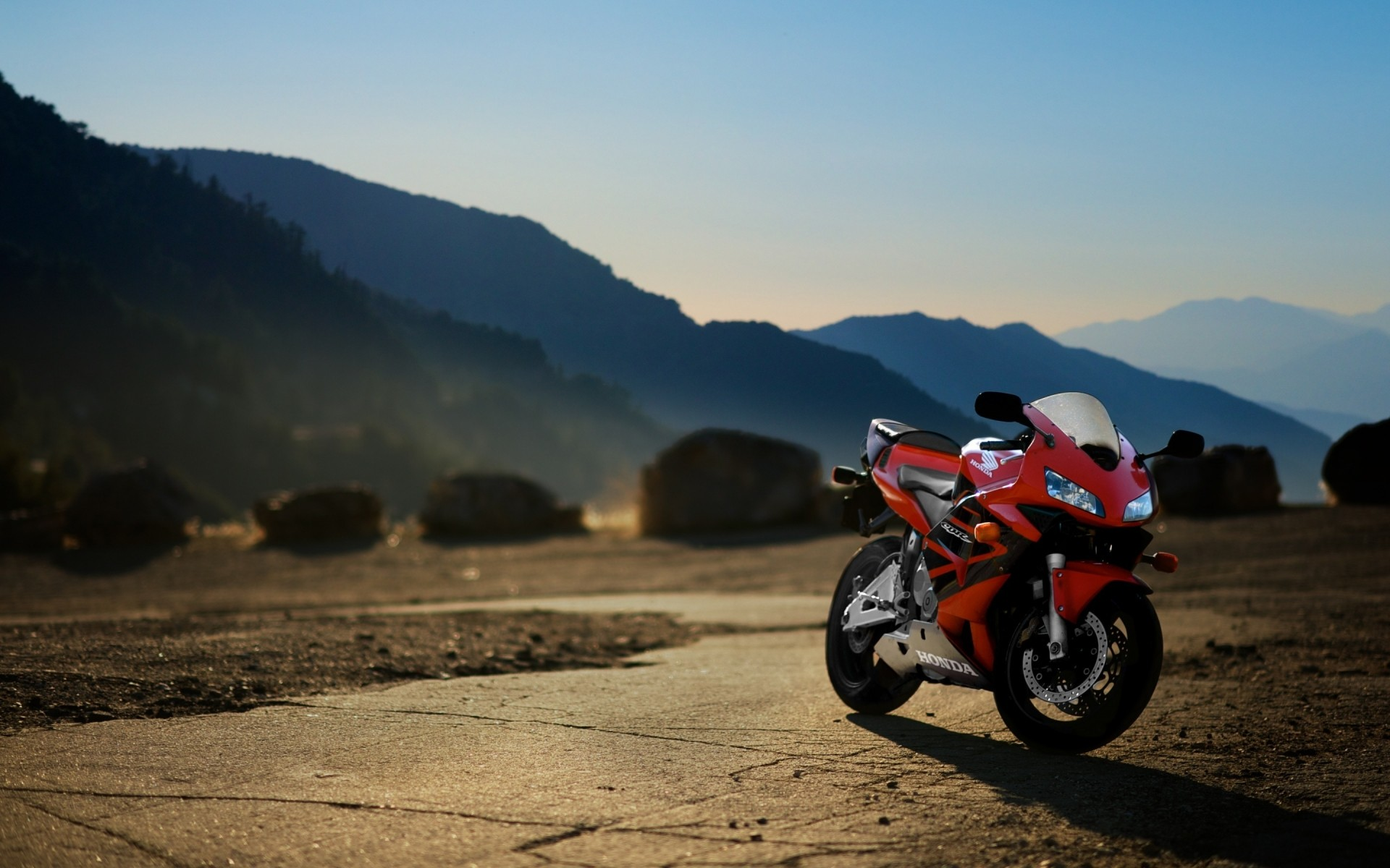 honda bike travel adventure mountain road sunset hurry