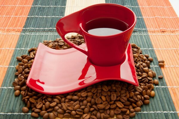 drink a Cup of coffee beans coffee