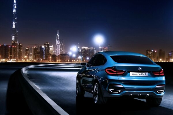 Blue BMW X4 Rear