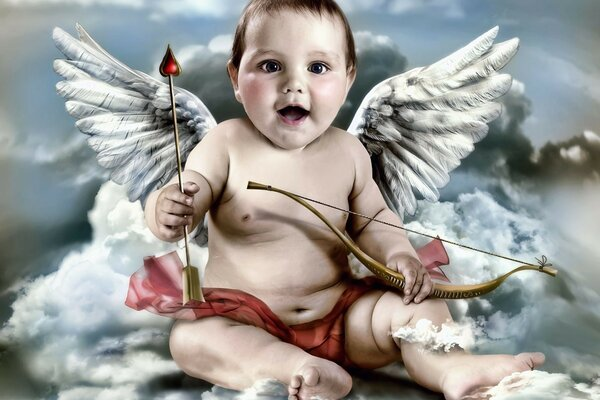 the arrow angel wings Cupid clouds bow