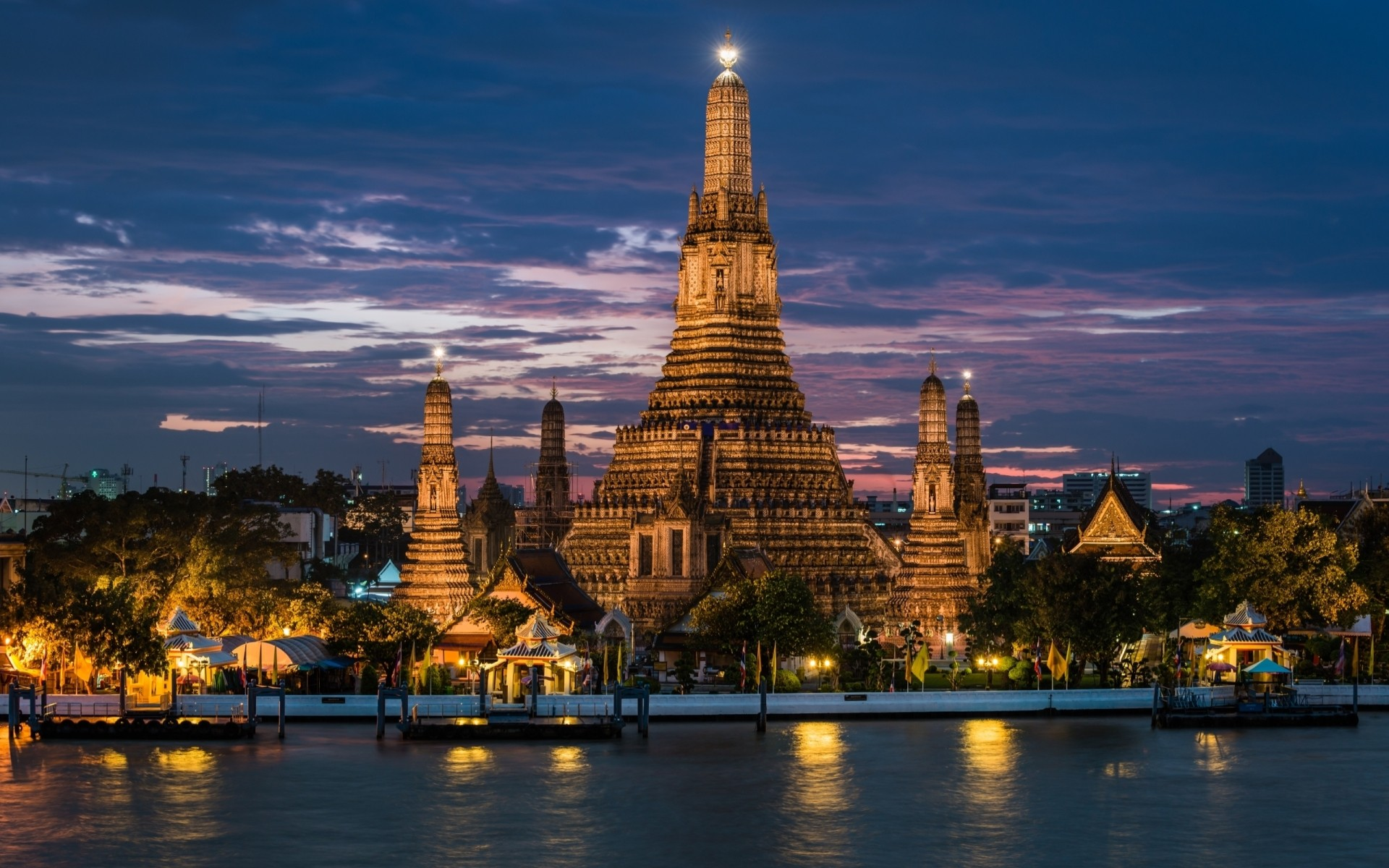 other city architecture travel dusk building sky outdoors city water religion river evening illuminated sunset bangkok thailand atraction