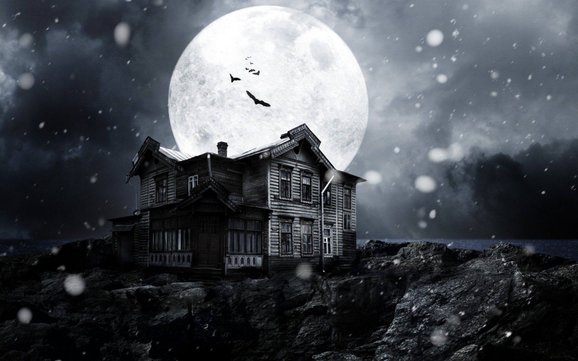 movies moon astronomy snow winter sky light planet exploration space satellite ball-shaped landscape travel science a haunted house