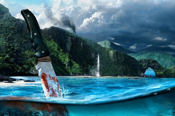 knife mountain shooter Far cry 3 blood sea