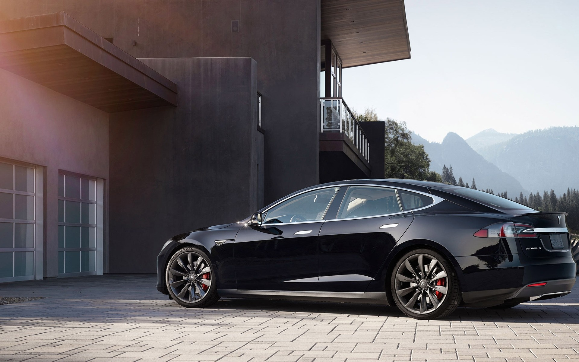 Black Tesla Model S 2015 Android Wallpapers
